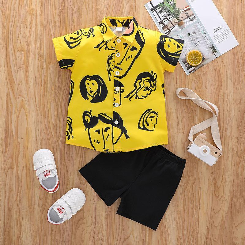 Boys Short Sleeve Casual Fashion Cartoon Print Button-Down Yellow Shirts+Black Shorts 2pcs Clothing Sets Summer