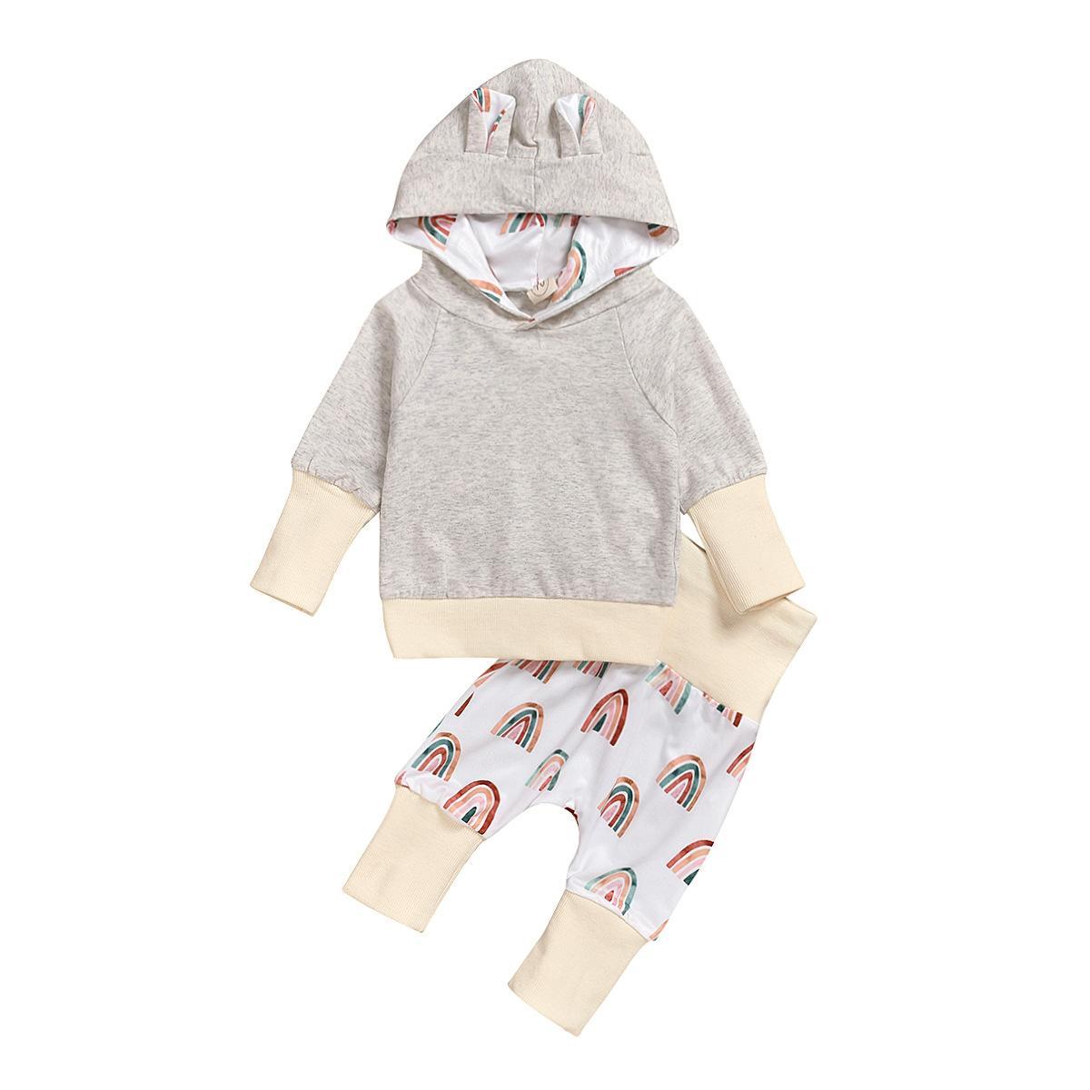 Instintos de la ropa de los estilos de los insilados Set del arco iris Imprimir Sudaderas con capucha de manga larga + Pantalón bebé 2 piezas conjuntos