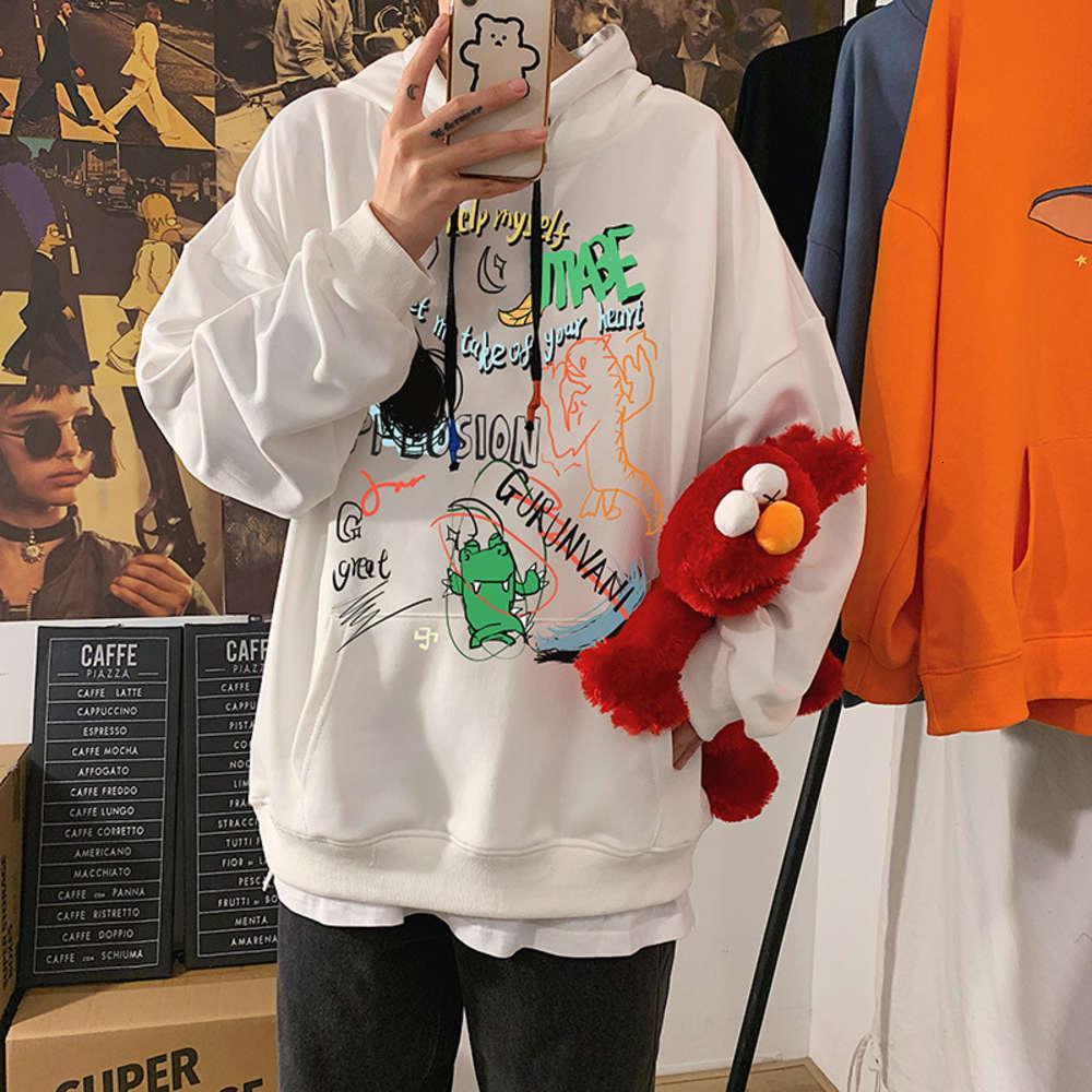 Высокое качество 1: 1 Ulzzang свитер мужская с капюшоном древнее верхние осени модные повседневные с длинным рукавом пальто