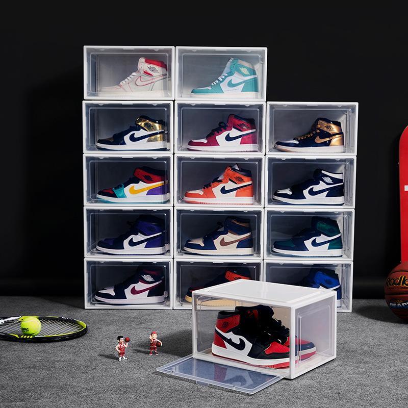 Home Storage Boxes Bins Side opening magnetic transparent plastic basketball cabinet flap detachable folding shoe