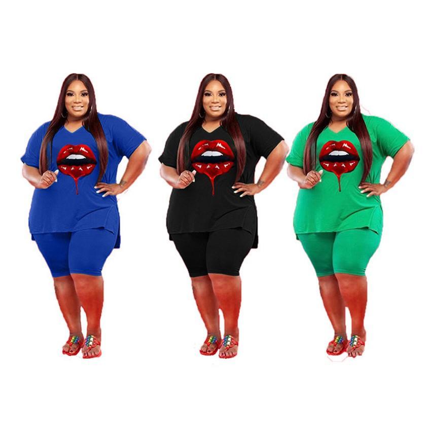 Plus Size Donne Tracksuits 3XL 4XL 5XL Abiti a due pezzi Abiti da jogger Suit da jogger manica corta T-shirt pantaloncini da estate Abiti da estate Sweat Stampato Gym Sportswear DHL 4755