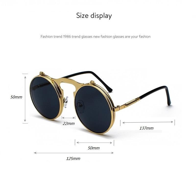 Steampunk Redondo Gafas de sol Mujeres Hombres Metal Vintage Flip Circular Circular Doble Lente Gafas de sol Círculo Sombras Gafas Oculos De S