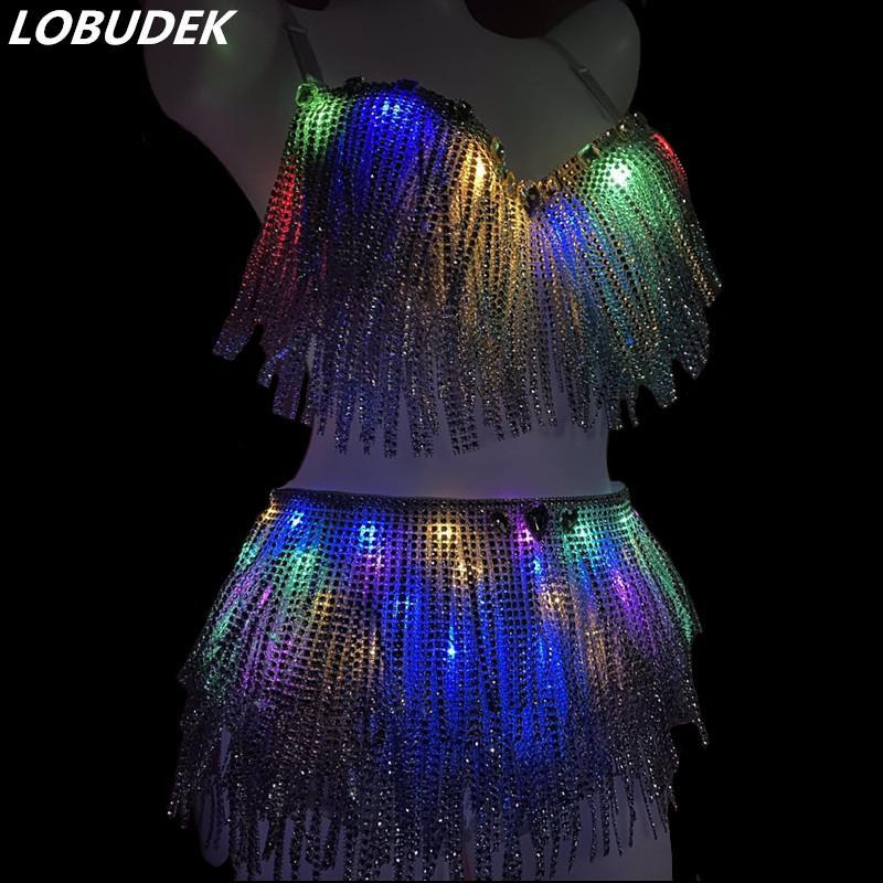 Stage Wear LED Lighting Dance Clothes Sexy Bar Rave Party Silver Tassels Fringes Bikini 2-Pieces Outfit Nightclub Singer Dancer Costume