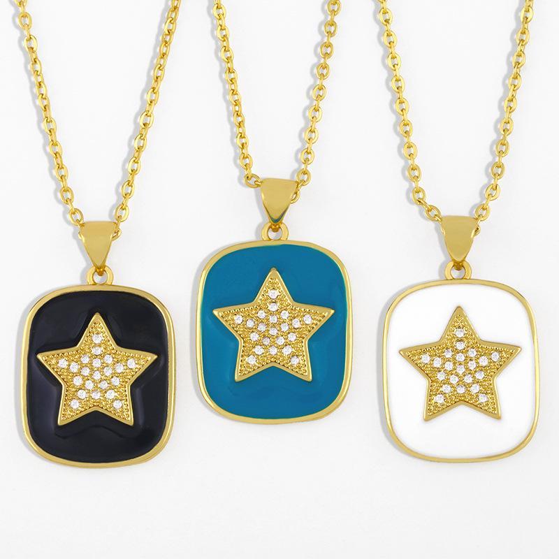 쥬얼리 패션 오일 디자이너 다이아몬드 펜던트 여성의 NKS43와 5 개의 뾰족한 스타 목걸이