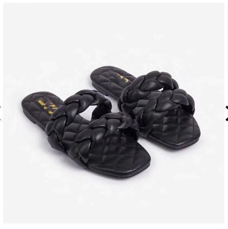 Sandali delle donne di modo scarpe stile tessuto stile cross-superficie cross-touth-toutled di grandi dimensioni donna slippe di caramelle color estate sandalo pantofole