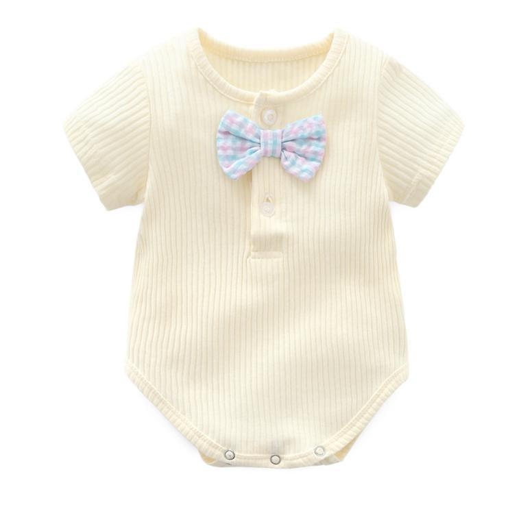 Summer Short Sleeve Rompers Baby Boy Sunken Stripe Jumpsuit Onesie Candy Color