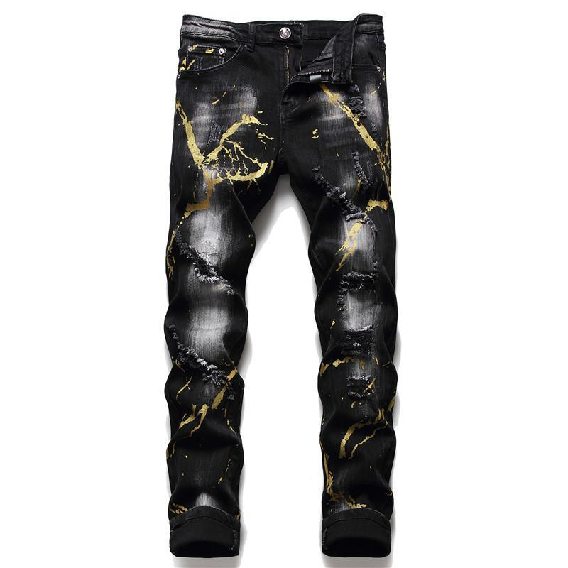 Fall Winter Tattered da uomo Slim PP Wash Jeans Strappato Jeans Black Paint Splash Stretch Stretch Moda Pantaloni maschili