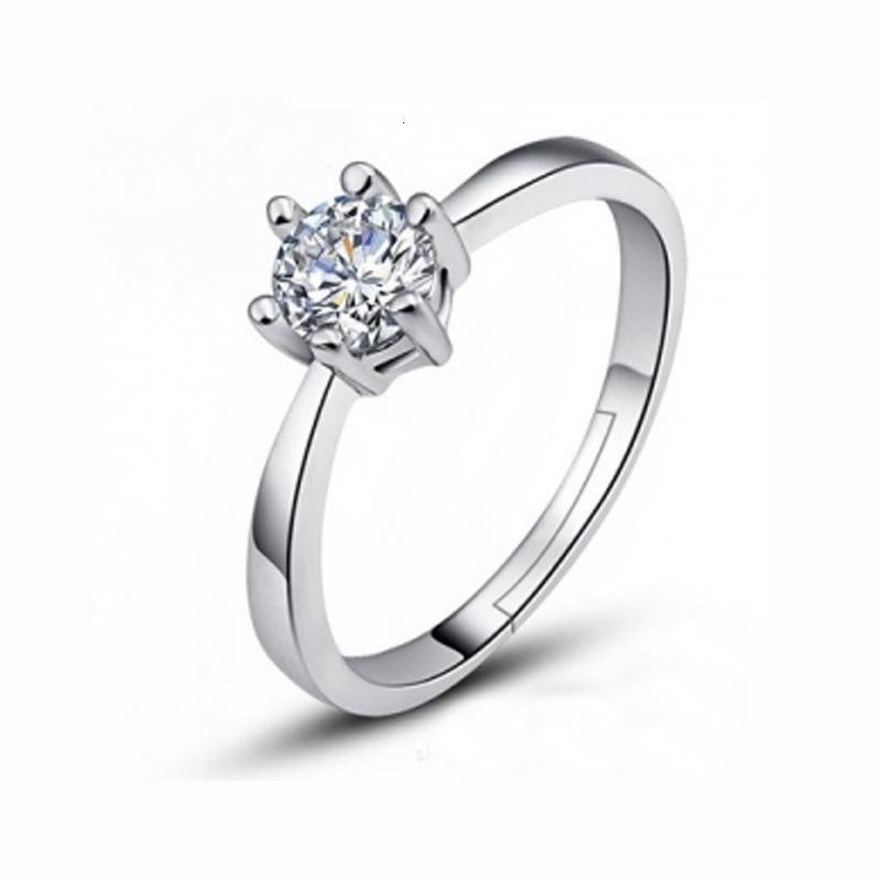 한국어 패션 크리 에이 티브 링 다이아몬드 상감 모방 클로 체인 지르콘 우아한 6 개 빛나는 6