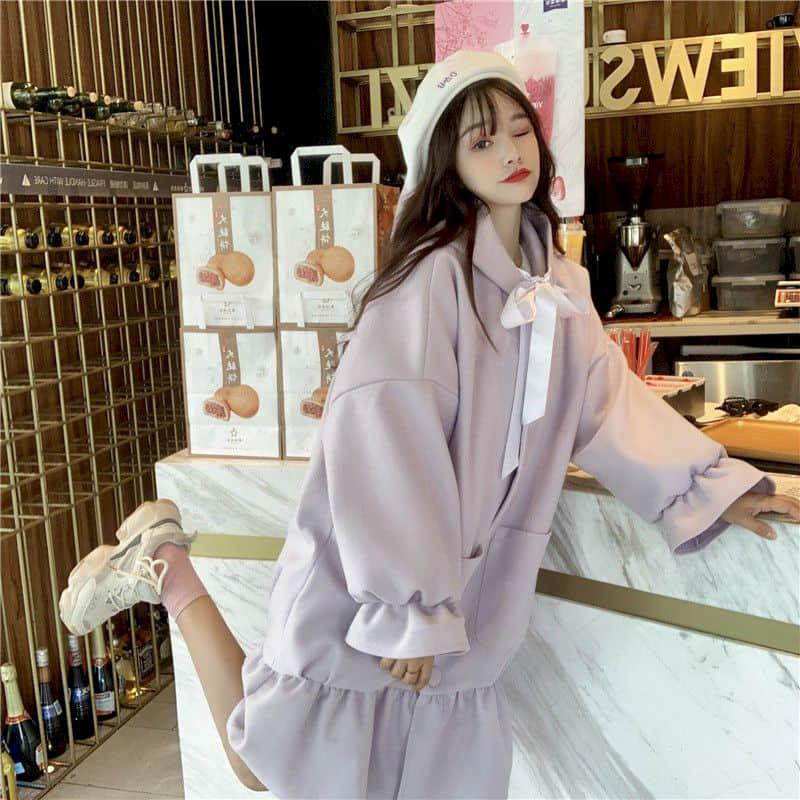 Women's Wool & Blends Woolen Jacket Women Autumn Winter Thicken Korean Style Hooded Ruffled Mid-length Loose Warm Cardigan Coat Trend Elegan