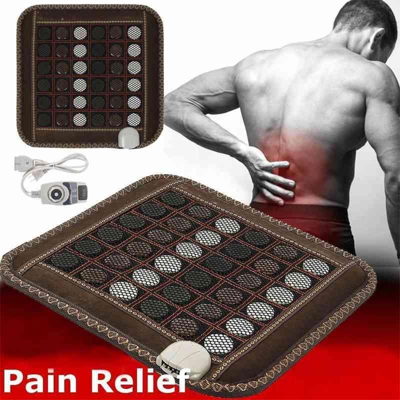 Natürliche Jade Massage Heizung Sitz Kissenmatte Infrarot Turmalin Stein Relax Schmerztherapie Zurück Körper Bein Muskeln Büro Haushalt 201009