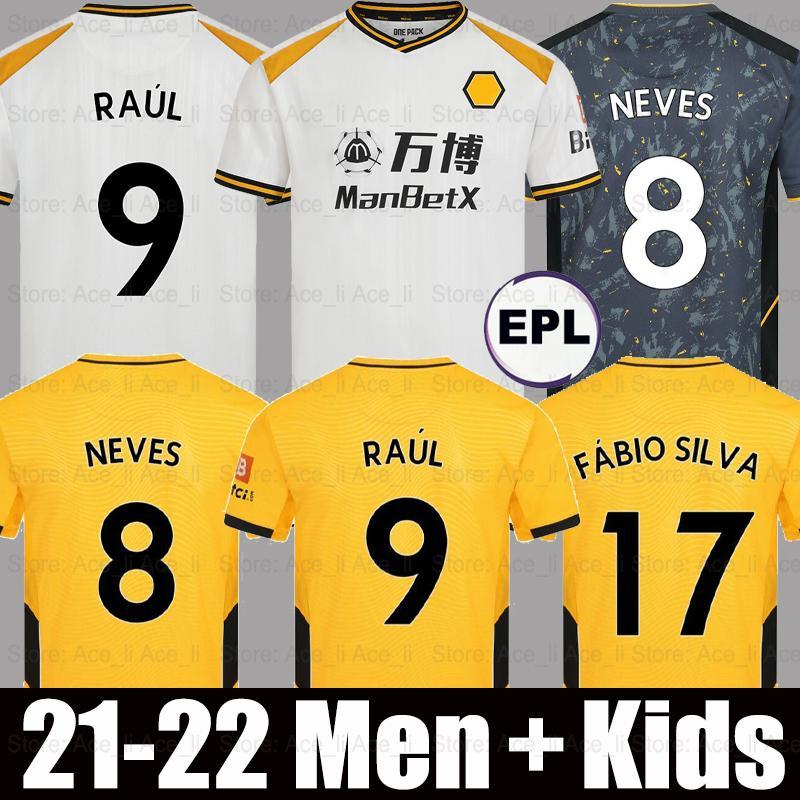 21 22 الذئاب Soccer Jersey الثالث Wolverhampton Wandarders Semedo Raul Neto Neves 2021 2022 Boly J.otto PoDence Facio Silva Football Shirts Saiss Adama Men + Kids Kits