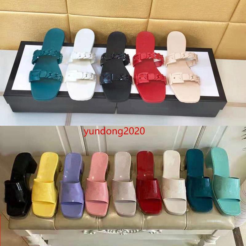 2021 Sandálias de Luxo Designer de mulher desenhista de mulher superior de verão moda geléia slide escotadores de salto alto marca sapatos casuais womens couro alfabeto almoxarifado sapato de praia ao ar livre