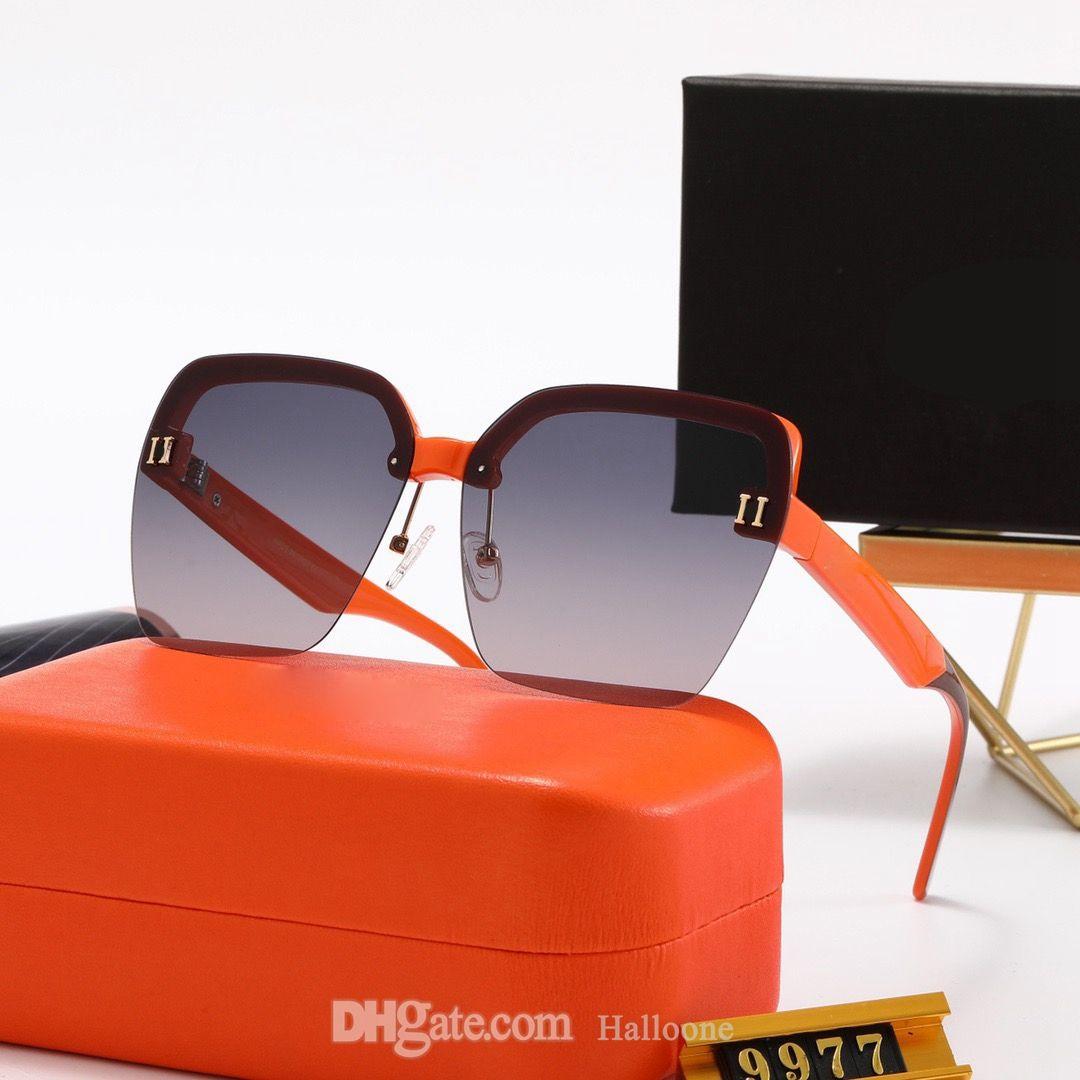 النظارات الشمسية الكلاسيكية للرجال النساء النساء الفاخرة المعادن خمر مصمم مكبرة موضة ساحة فرملس نظارات uv400 عدسة 9977 الأصلي مربع حالة نظارات الشمس