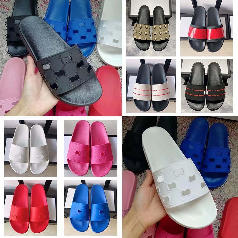 Klasik Terlik Satmak iyi Kauçuk Sandalet Slaytlar Çiçek Brocade Erkekler Kadınlar Moda Terlik Kırmızı Beyaz Dişli Altları Rahat ayakkabı10 03