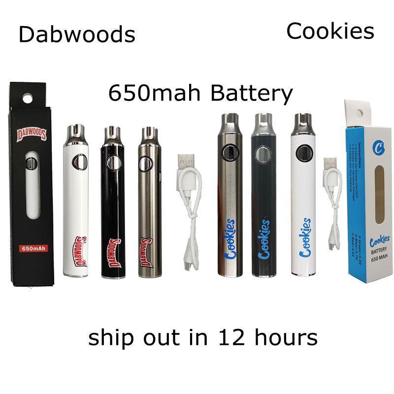 Dabwoods 배터리 650mAh vape 펜 조정 가능한 가변 전압 쿠키 510 스레드 배터리 USB 충전기가있는 소매 포장을 예열하십시오.