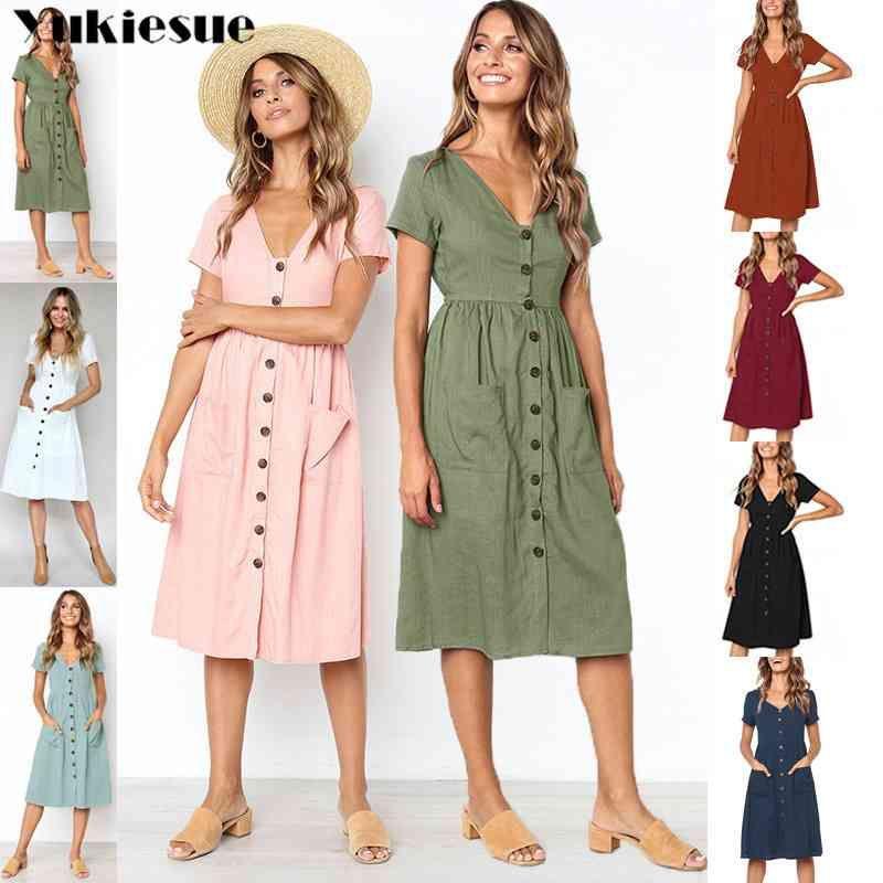 Sommerkleid Frauen Boho Kleider Frauen Baumwolle Wäsche Vintage Strand Party Club Sexy V-ausschnitt Bodycon Kleid Weibliche Plus Größe 210412