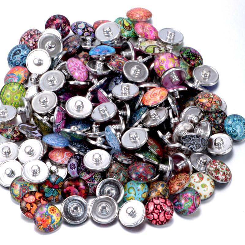 Довольно ювелирные изделия Дешевые для привязки Кнопка Ожерелье 18 мм имбирный стекло Горный ронзот оптом Ювелирные изделия DIY Аксессуары для кожаных чар 78 L2