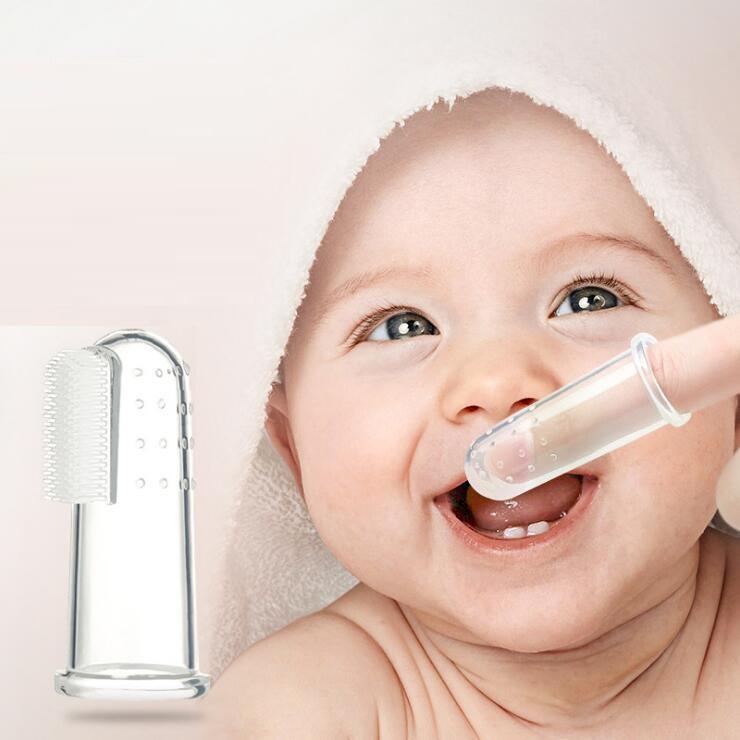 1000pcs / lot 아이들 유아 장난감 Teethers 부드러운 투명한 실리콘 손가락 칫 솔 신생아 아기 고무 깨끗한 마사지 훈련 브러시