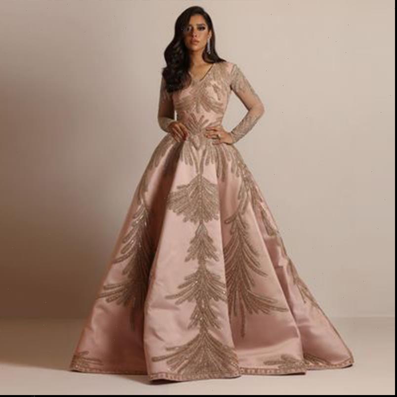 Primavera Fashion High Street Style Style Dress Vestito a maniche lunghe con scollo a V Collo Appliques Pavimento