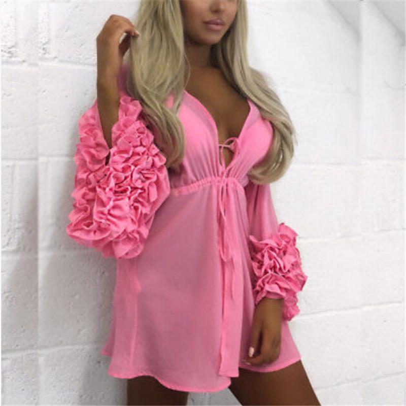Swimwear feminino Summer Puff Sleeve Beach Dress Mulheres Beachwear Bikini Cobertura Túnica Kaftan Pareeo Senhoras Boho Robe