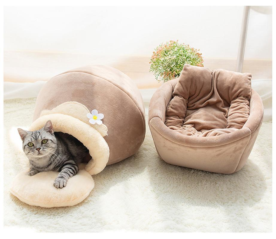 Cat Beds & Furniture Pet Bed For Cats Dogs Soft Puppy Nest Kennel Honet Pot Shaped Cave House Sleeping Bag Mat Pad Tent Pets Winter Warm Coz