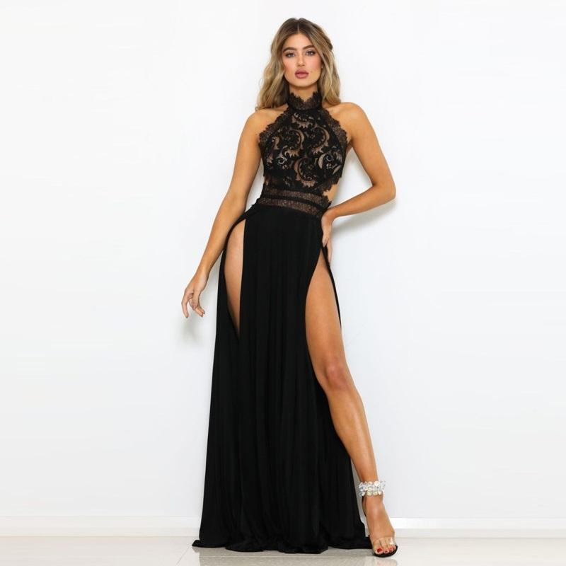 Sexy Halter Backless Maxi Vestido Divitaciones sin mangas Lace Hollow Out Dress Black Floor Longitud Club Nocturno Party Dreses para mujeres 210420