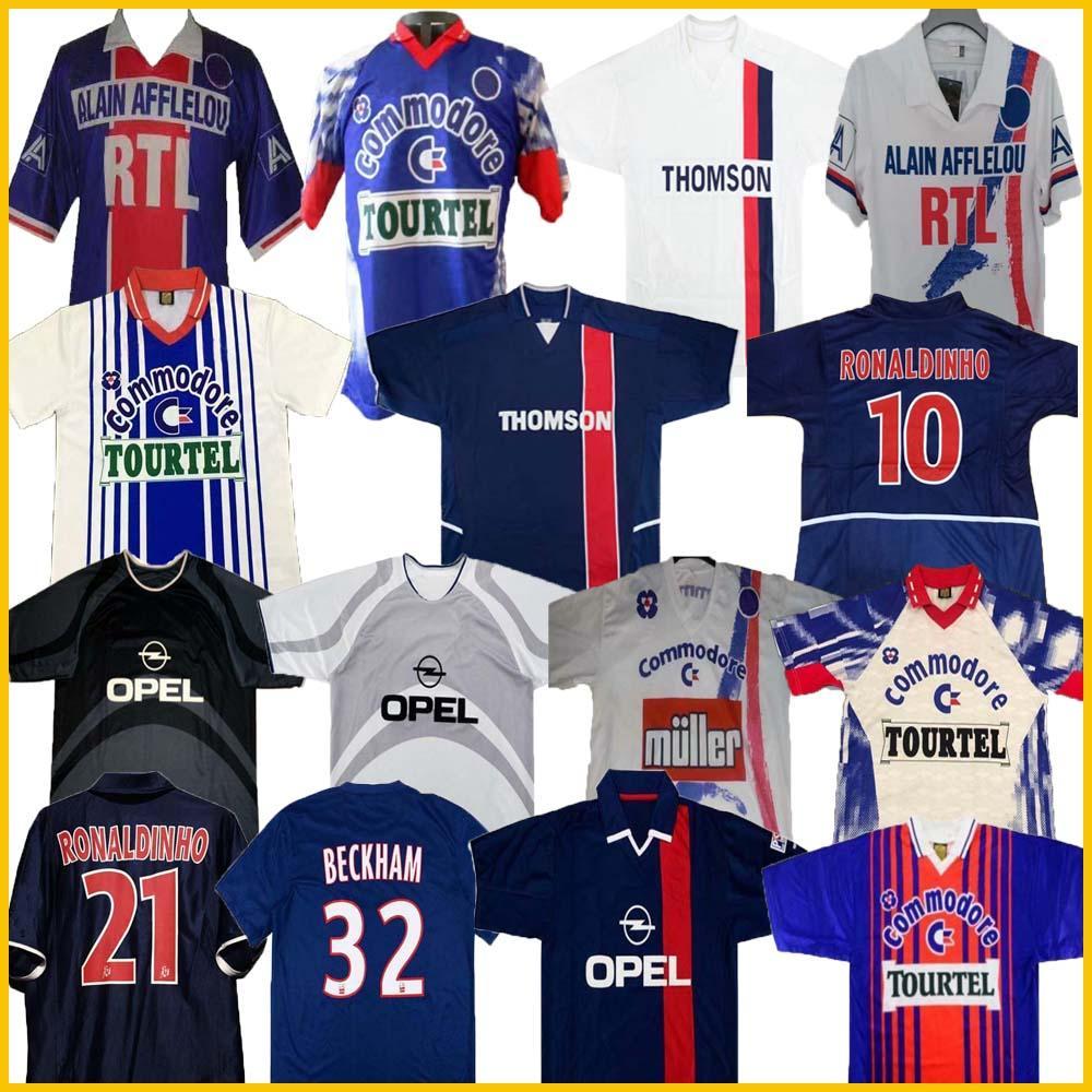 02 03 91 93 94 95 96 PSGJersey Retro Futebol Jersey Okocha Leroy Beckham 98 99 00 01 90 92 06 07 Classic Rai Anelka Ibrahimovic Ronaldinho