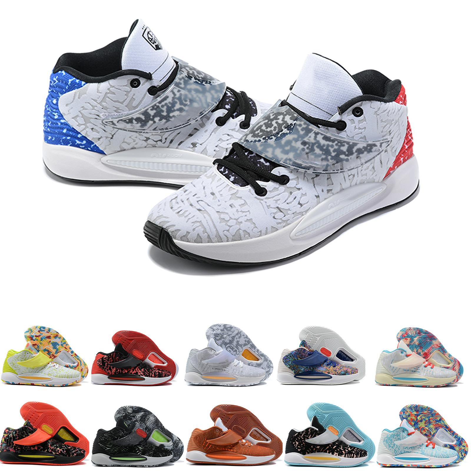 Erkekler Durant KD 14 XVI 14 S Basketbol Ayakkabı Çok Renkli Mavi Erkek Kevin KD14 Eğitmenler Yakınlaştırma Elite Spor Sneakers ABD 7-12