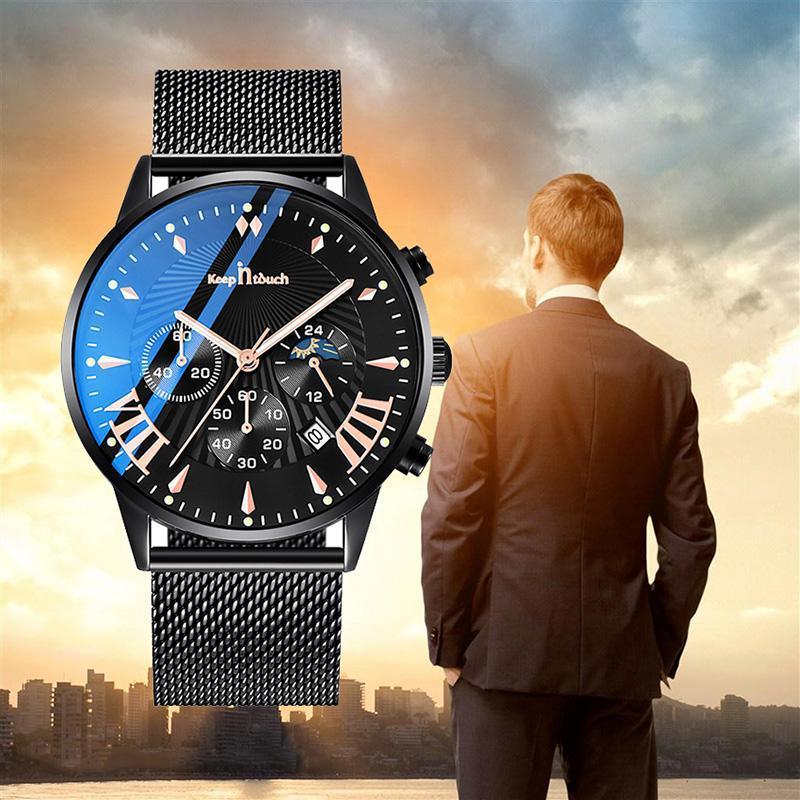 Armbanduhren in Verbindung bleiben Blu-ray Herren Military Watch Wasserdichte leuchtende Edelstahl Mesh / Leder Band Chronograph Männer Sportuhren