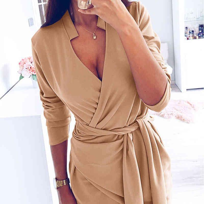 Women Fashion Mini Sexy V-neck Long Sleeve Sashes Ladies Casual Female Autumn New Solid Party Dress 210412