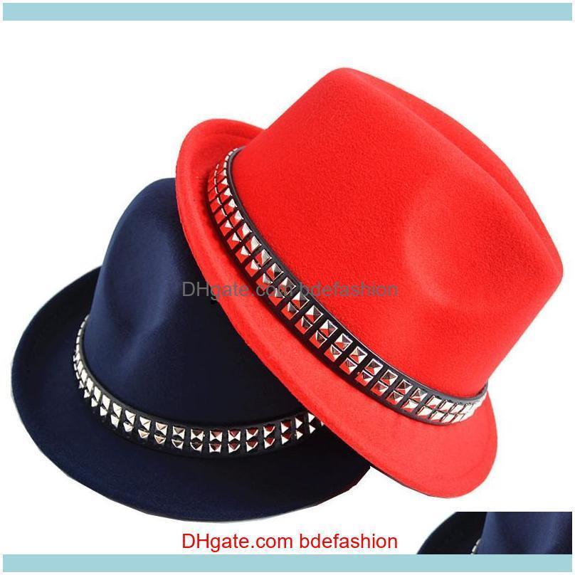 Sombreros, Bufandas Guantes Fashion Aessoriespor Rivet Hombres Mujeres Wool Fedora Fedora Soft Dance Fiesta Boda Picatriz Piedra Caps Adulto Calle Top Hats Jazz