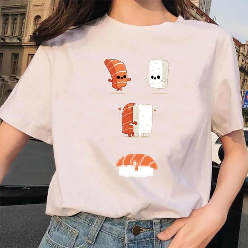 Suşi Sarılma Baskı T Gömlek Komik Casual Gömlek Streetwear Büyük Boy Karikatür Pamuk Tişört Harajuku Temel Tees Femme Kadın T-shirt Tops