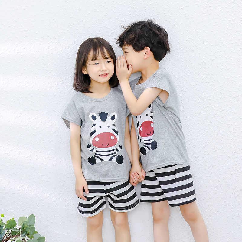 Jungen Mädchen Pyjamas Neue Sommer Kurzarm Kinderbekleidung Nachtwäsche Baby Baumwolle Pyjamas Sets für Kinder 4 6 8 10 12 14 Jahre
