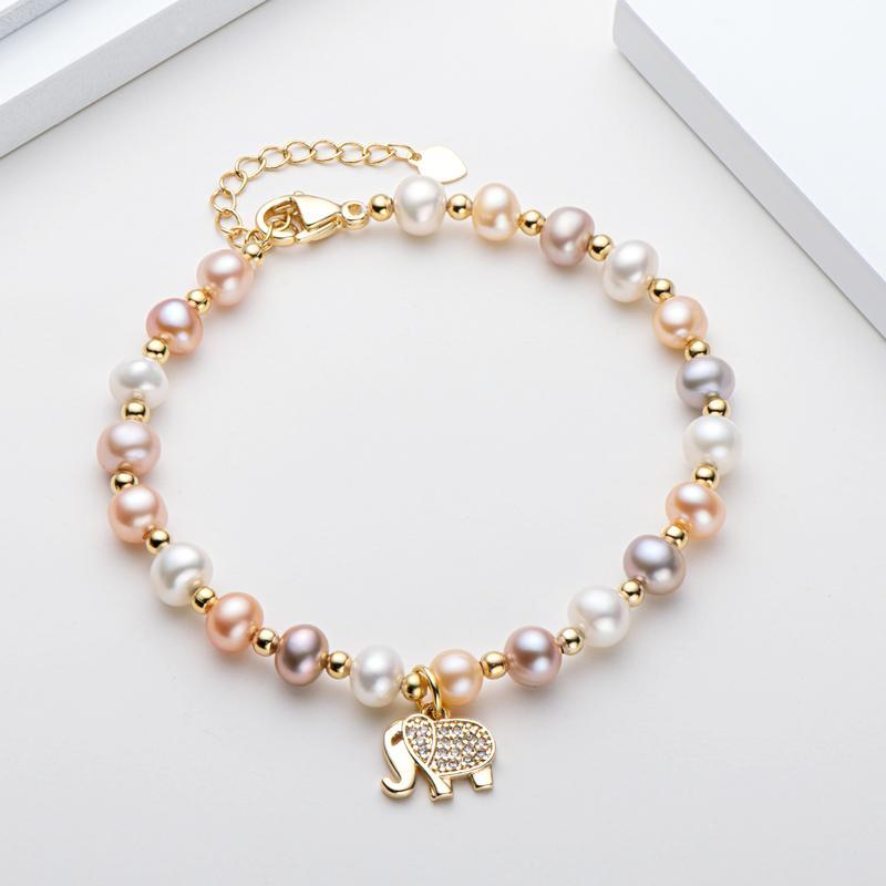 Lnngy 14K Gold Filled Bracelet 4.5-6.5mm Natural Freshwater Oval Pearl Lovely Elephant Charm Bracelet Women Wedding Jewelry GiftBracelets