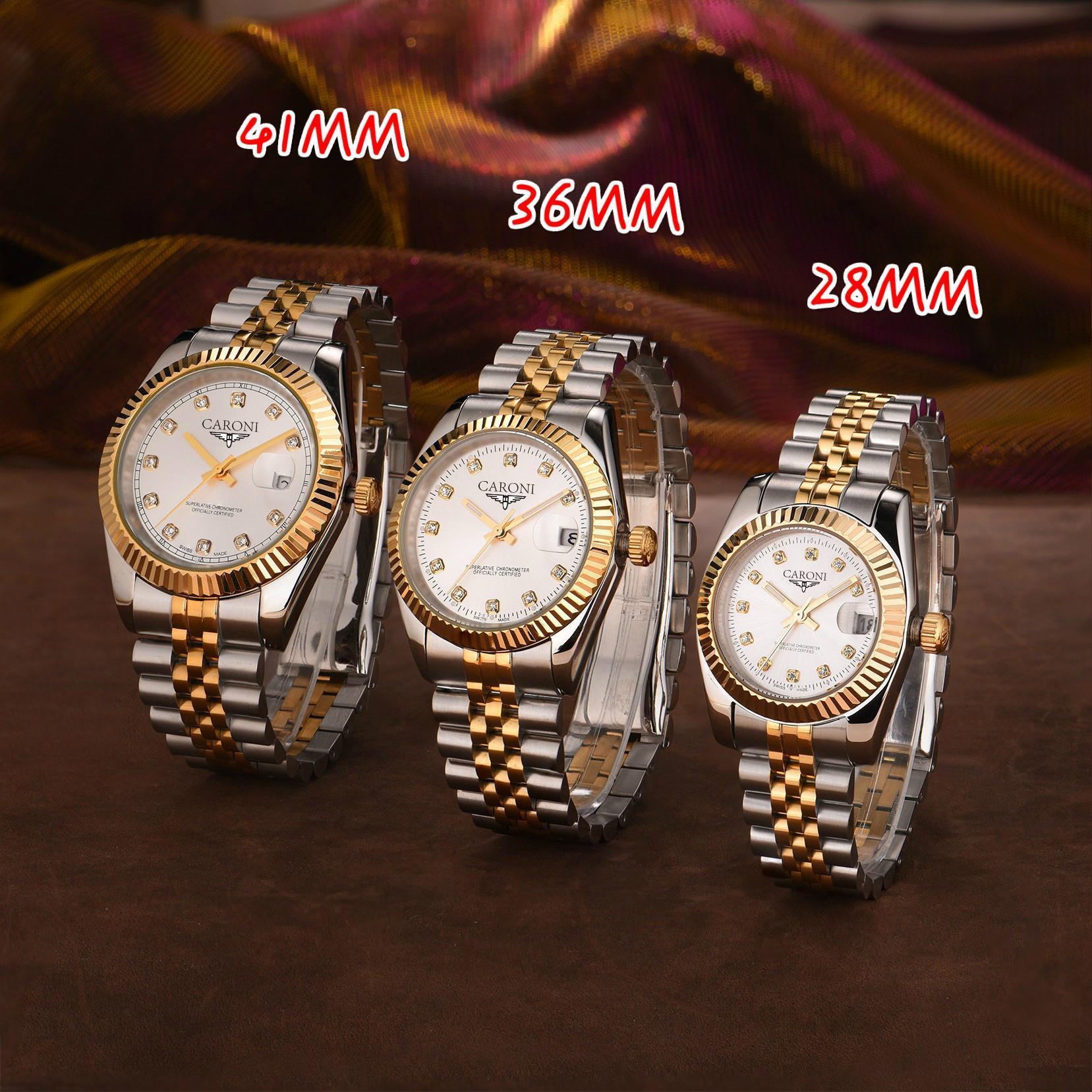 U1 2813 mens automático relógio de ouro vestido de aço inoxidável de aço inoxidável à prova d 'água casal luminoso estilo clássico relógios de pulso montre de luxo