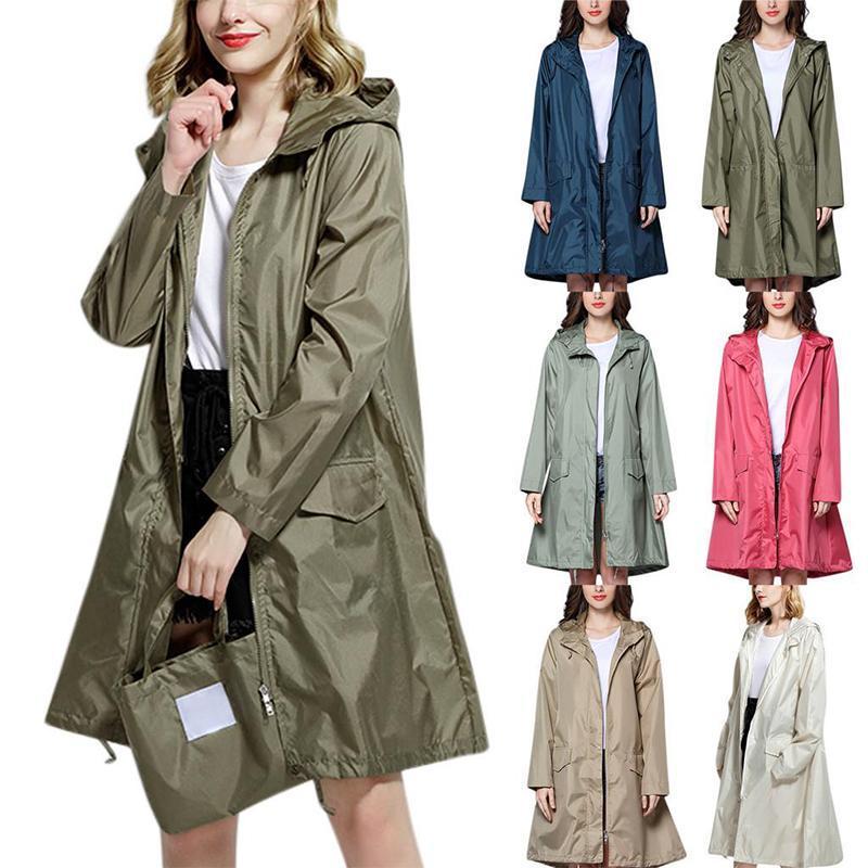 Capacas de la zanja de las mujeres para las mujeres de las mujeres hombres rompevientos con capucha con capucha Ropa de lluvia de verano portátil al aire libre a prueba de viento chaqueta de color sólido abrigo lluvwear