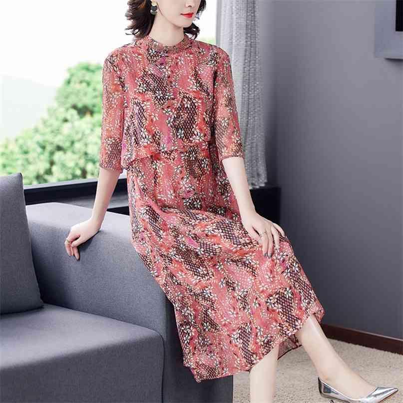 Frühling Sommer Rot Druck Chiffon Midi Kleid Vintage Floral 4XL Plus Größe Strand Sommerkleid Elegante Frauen Bodycon Party Vestidos 210603