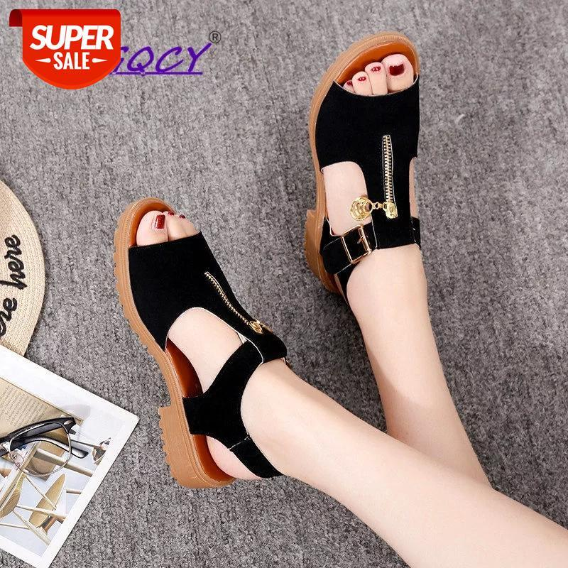 Open toe Square heel sandals women 2019 summer shoes Student Solid Zipper Low Metal Decoration Casual ladies #Wn9X