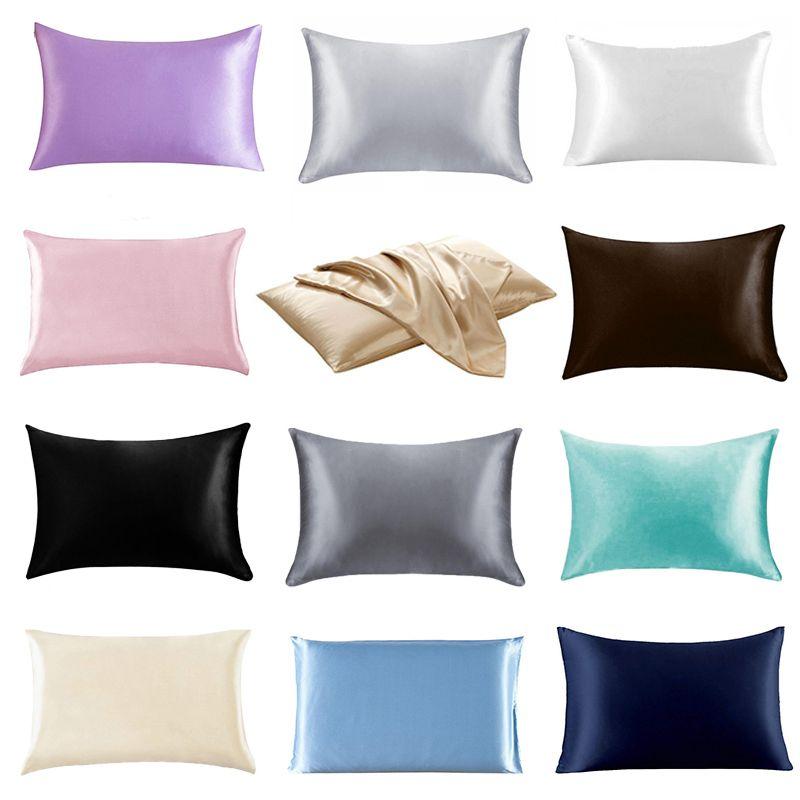 20 * 26 дюймов Silk сатинированная наволочка 12 сплошные цвета охлаждающие оболочки наволочки ледяные шелковые шелковые подушки для с кожей