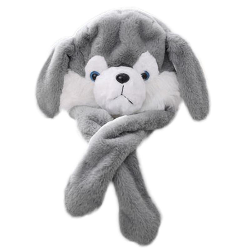 Ilumina el sombrero del animal de peluche husky con las orejas móviles Divertido perrito del perrito LED que brilla intensamente tapa de la polla de los juguetes rellenos Cosplay PO PROFANE / CAPS CAPS