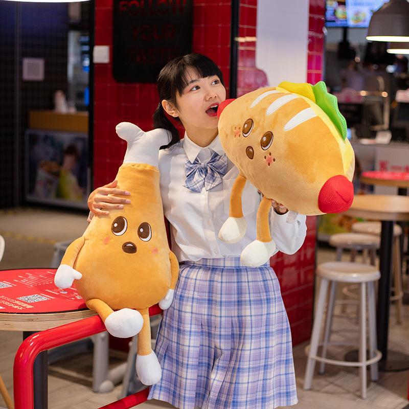 Happy Food Plüsch Spielzeug Figurierter Cartoon Toast Hamburger Pizza Pop Mais Chips Drumstick Dekor Snacks Kissen Kissen Requisiten 7 Arten