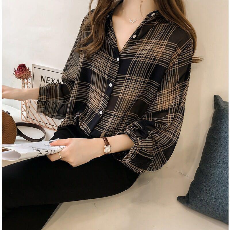 Mazefeng Casual Striped Oversized Women Blouses Spring Chiffon Blouse Sleeve Loose Tops Shirts Blusas Mujer Plus Size Plaid Women's &