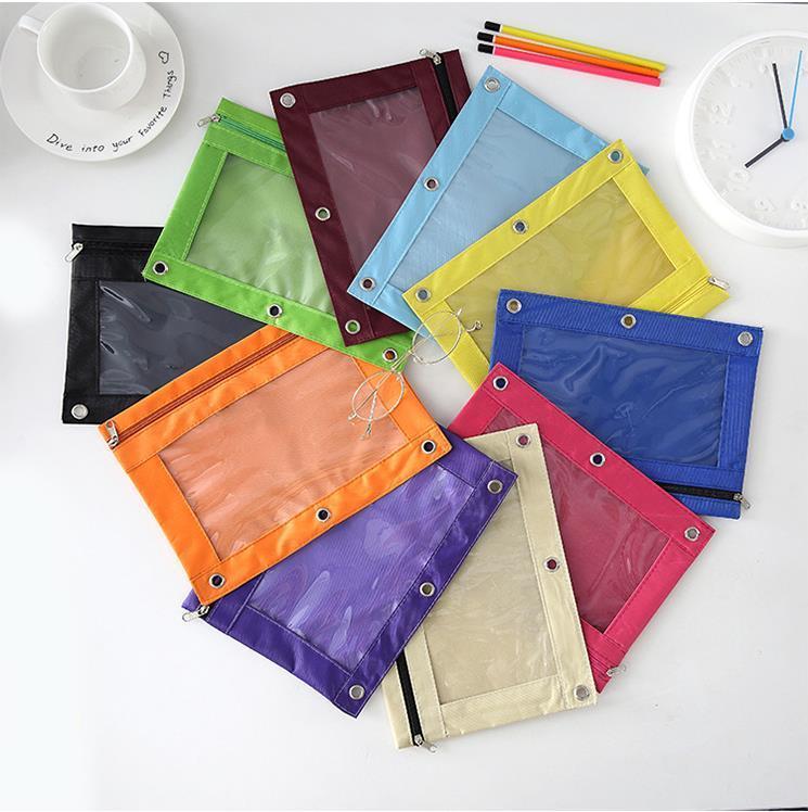 3 Ring Bleistiftbeutel mit Mesh-Fenster, B5 Reißverschluss Binder Bleistiftbeutel Bindemittel Taschen 2 Fächer Reißverschluss Ordner Taschen