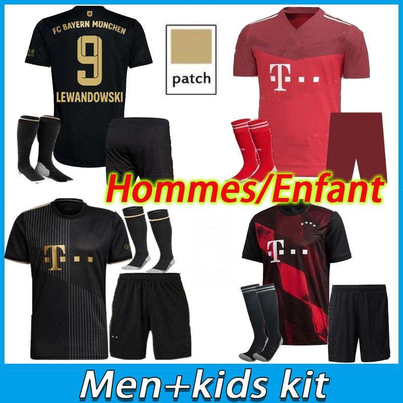 الرجال Kids Kit 21 22 Bayern Soccer Jersey Lewandowski Sane Munich Coman Muller Davies كرة القدم قميص 2021 HumeRrace الرابع
