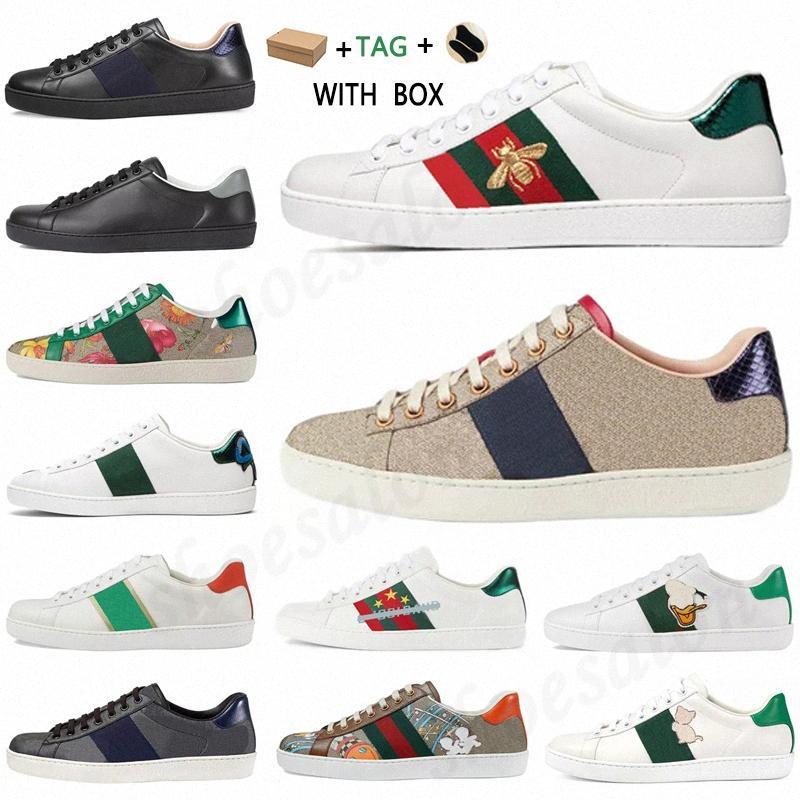 2021 Erkek Kadın İtalya Ace Tasarımcı Ayakkabı Lüks Kaliteli Yılan Siyah Beyaz Deri Arı Vintage Yıldız Şerit Sneakers Eğitmenler # 562 J2UK #