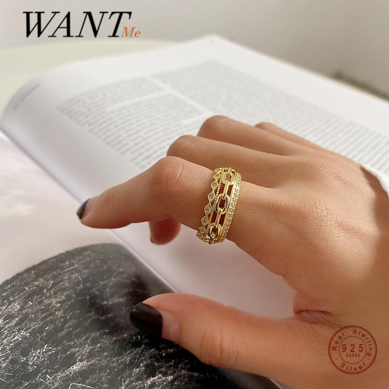 WANTME Genuine 925 Sterling Silver Korean Double Layer Cuban Link Chain Luxury Zircon Ring for Women Wedding Engagement Jewelry 210507