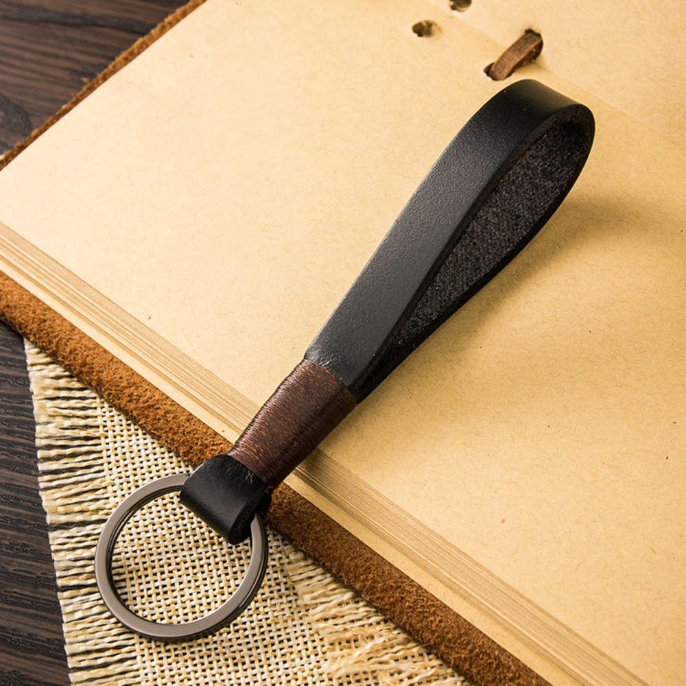 Acessórios de moda simples couro artesanal pingente criativo carro chaveiro carro chave para homens e mulheres