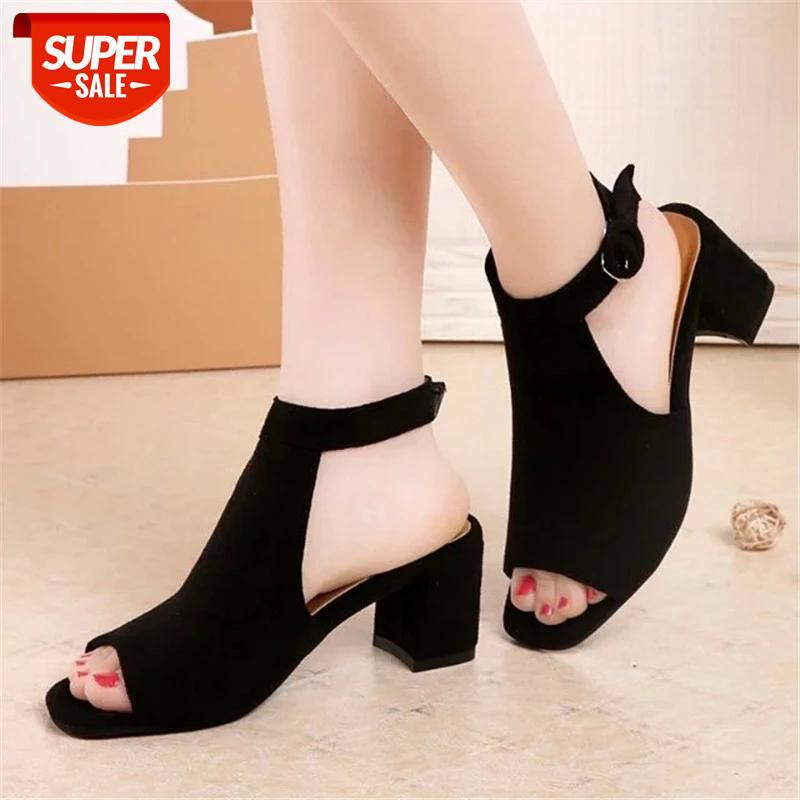 Suede High heels sandals women 2019 summer shoes Fashion Peep Toe Square heel Buckle with Back empty female #8i3B