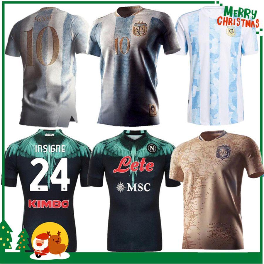 2021 아르헨티나 메시 레트로 1978 1986 Maradona 축구 유니폼 20 21 나폴리 나폴리 홈 멀리 축구 셔츠