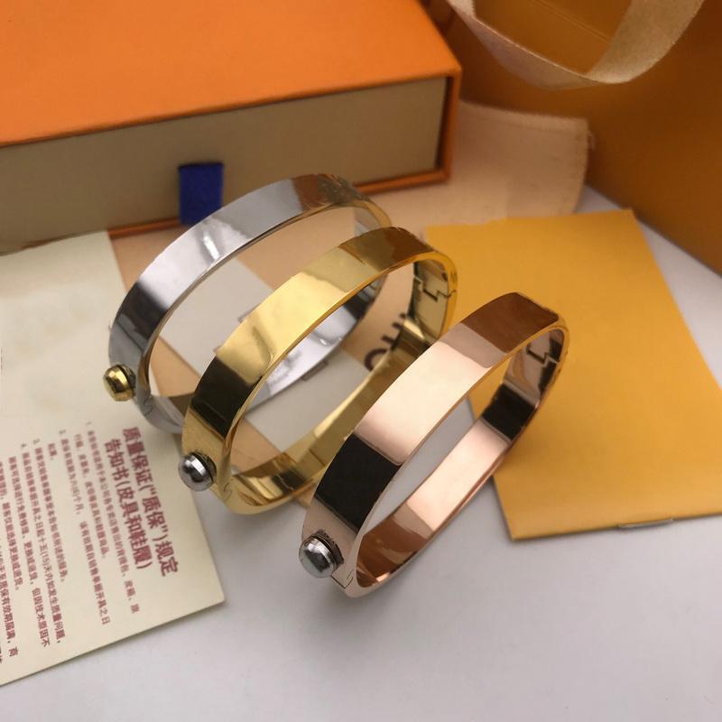 Diseñador brazalete rosa oro plata acero inoxidable lujo simple cruz patrón hebilla amor joyería mujeres hombres pulseras marca